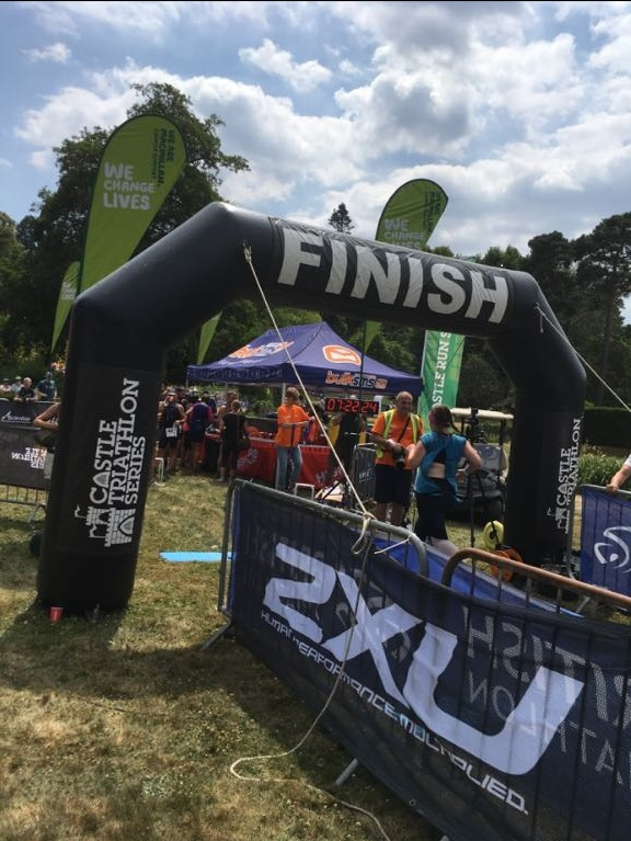 Photo showing the finish line at the Hever Half Marathon in 2018